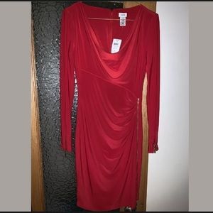 Red dress size XS with gold zipper detail